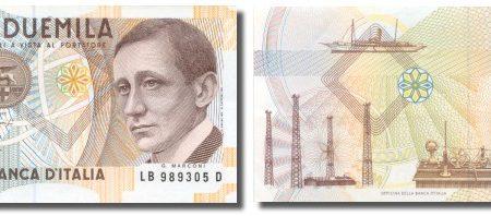 Le monete e la banconota dedicate a Guglielmo Marconi