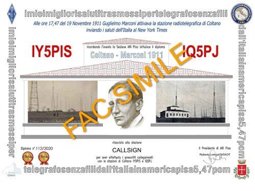 Diploma Coltano Marconi 1911 edizione 2020